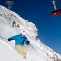 Niall Bouzon inbounds on a bluebird day at jackson hole